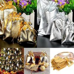 50 Argento Oro 3 Misura Borsa Sacchetti Regalo Matrimonio Gi